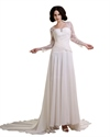 Show details for Ivory Chiffon Dropped Waist A Line Wedding Dress With Lace Sleeves