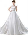 Show details for Ivory A-Line One-Shoulder Floor-Length Wedding Dress With Lace Bodice