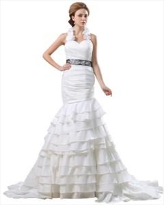 Ivory Mermaid Ruffle Collar Wedding Dress With Beaded Waistband
