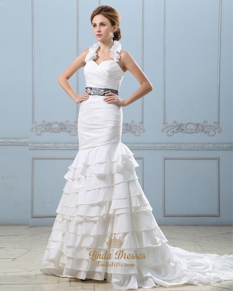 Ivory Mermaid Ruffle Collar Wedding Dress With Beaded Waistband