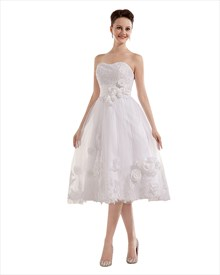 Ivory Strapless Tulle Tea Length Wedding Gown With Floral Appliques