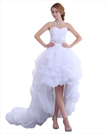 White Sweetheart Organza Wedding Dress Short In Front With Long Train