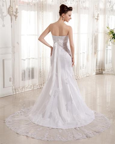 ivory strapless mermaid empire waist lace wedding dress