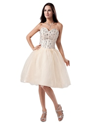 Champagne Strapless Organza Knee Length Wedding Dress With Beaded Bodice
