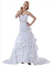 White Taffeta Layered Skirt Mermaid Wedding Gown With Floral Appliques
