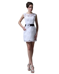 Short White Lace Sheath Illusion Neckline Wedding Dress With Black Sash