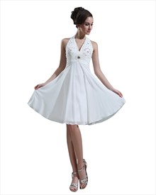Ivory Empire Halter Beaded Bodice Knee Length Chiffon Wedding Dress
