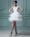 Show details for Elegant Short White Layered Tulle Skirt Wedding Dress With Pearls