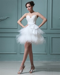 Elegant Short White Layered Tulle Skirt Wedding Dress With Pearls