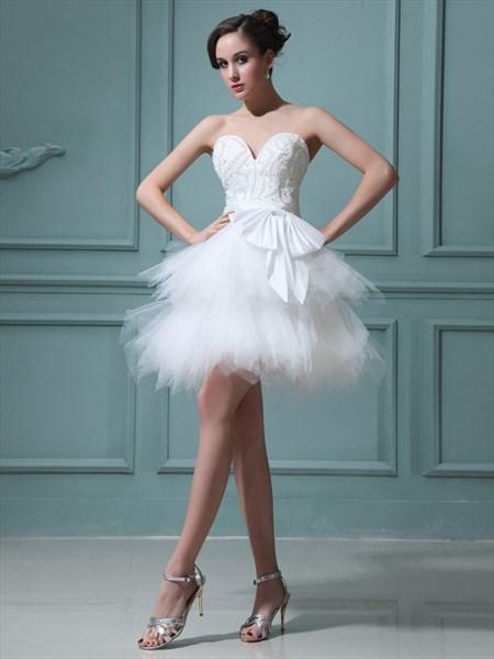 Elegant Short White Layered Tulle Skirt Wedding Dress With Pearls