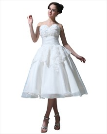 Ivory Tea Length Ball Gown Organza Wedding Dress With Rosettes On Skirt
