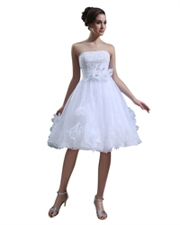 White Applique Knee Length Wedding Dress With Floral Embellishment