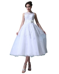 White Tea Length Organza Bateau Wedding Dress With Beaded Lace Top