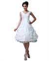 Show details for White V Neck Tea Length Taffeta Wedding Dresses With Rosettes On Bottom