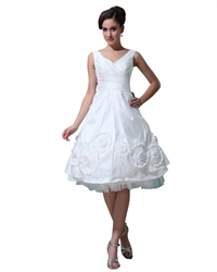 White V Neck Tea Length Taffeta Wedding Dresses With Rosettes On Bottom