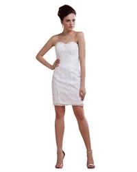 Short Ivory Lace Sheath Wedding Dress With Beaded Sweetheart Neckline
