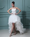 Show details for Ivory Strapless High Low Wedding Dress With Floral Embellishments