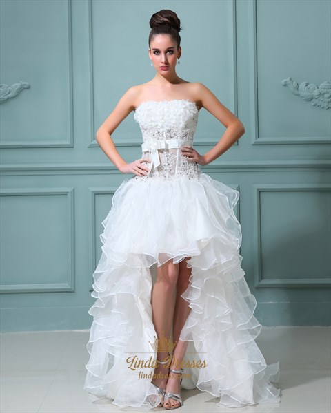 Ivory Strapless High Low Wedding Dress With Floral Embellishments