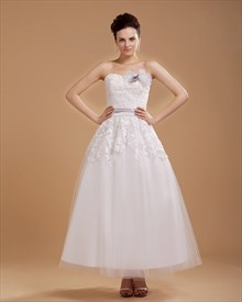 Ivory Ankle Length Lace Top Tulle Wedding Dress With 3d Floral Details