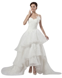 Ivory One Shoulder Sweetheart Organza Wedding Dress With Flowers