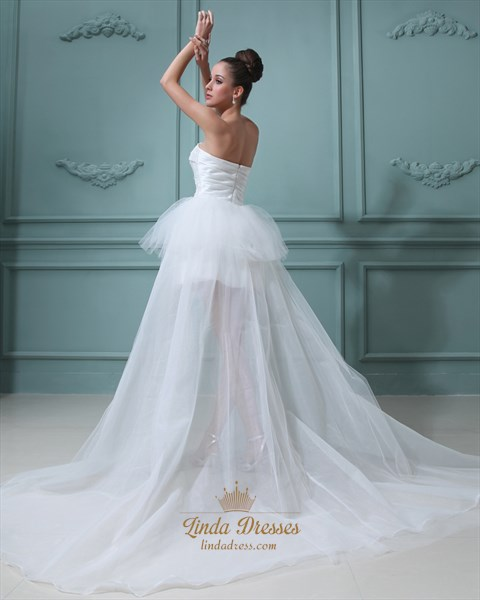 Ivory Strapless Organza Wedding Dress Short In Front Long Back