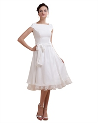 Simple Elegant Tea Length Chiffon Cap Sleeve Wedding Dresses With Sash