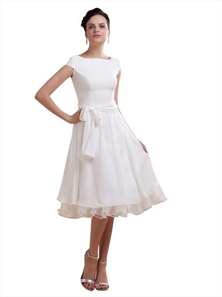 Simple Elegant Tea Length Chiffon Cap Sleeve Wedding Dresses With Sash