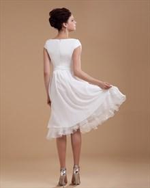 cf584a01ab80 Simple Elegant Tea Length Chiffon Cap Sleeve Wedding Dresses With Sash