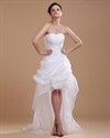 Show details for White Strapless Sheath High Low Wedding Dress With Pick Up Skirt