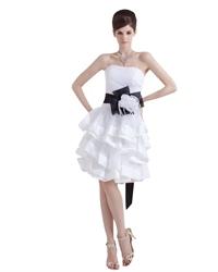 Elegant White Strapless Short Layered Wedding Dress With Black Sash