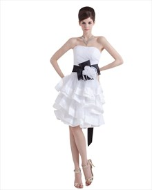 Elegant White Strapless Short Layered Wedding Dress With Black Sash