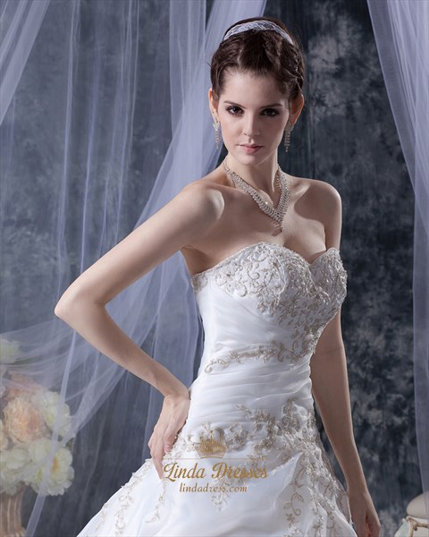 Ivory Embroidered Wedding Dress Strapless With Gold Leaf Embroidery