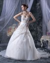 Show details for Ivory Halter Sweetheart Neckline Organza Wedding Dress With Beading