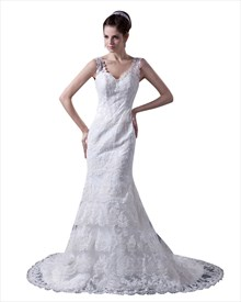 Romantic Vintage Ivory Lace V-Neck Chapel Train Mermaid Wedding Dress