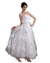 White Strapless Ankle-Length Wedding Dress With Floral Embellishments
