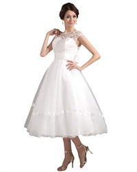 Ivory Illusion Neckline Tea Length Wedding Dress With Cap Sleeve
