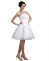 Show details for White Strapless Organza Short Beach Wedding Dress With Petals In Skirt