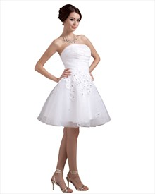 White Strapless Organza Short Beach Wedding Dress With Petals In Skirt
