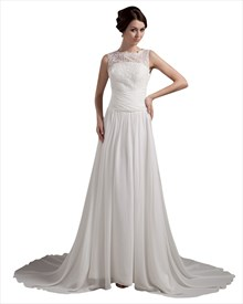 Ivory Chiffon Beach Lace Bodice Sweep Train Wedding Dress With Beading