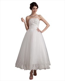Ivory Organza Strapless Ankle Length Wedding Dress With Beaded Applique