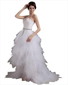 White Strapless Tulle Ruffle Skirt Wedding Dress With Beaded Belt