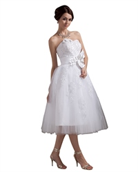 White Tea Length Strapless Tulle Wedding Dress With Beaded Appliques
