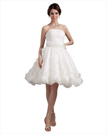 Ivory Strapless Beaded Waist Organza Wedding Dresses With Flower Petals