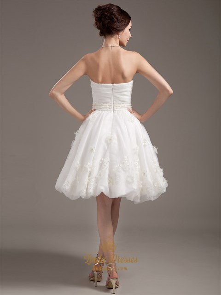 Ivory Strapless Beaded Waist Organza Wedding Dresses With Flower Petals