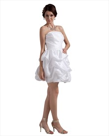 White Taffeta Strapless Bubble Hem Short Wedding Dresses With Pick Ups