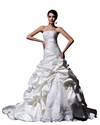 Ivory Strapless Beaded Lace Applique Wedding Dresses With Pick Ups