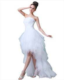 White Strapless Tulle Ruffle Wedding Dresses Short In Front Long Back