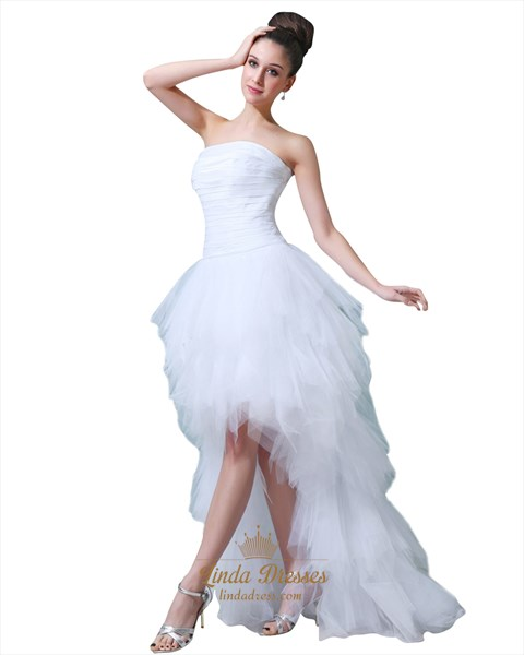 Show details for White Strapless Tulle Ruffle Wedding Dresses Short In Front Long Back