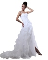 Show details for White One Shoulder Sweetheart Pick Up Wedding Dresses With Beaded Lace