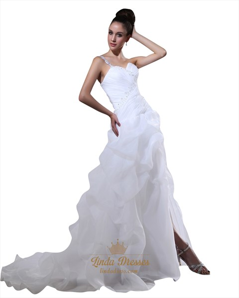 White One Shoulder Sweetheart Pick Up Wedding Dresses With Beaded Lace